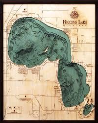 Lake Michigan Bathymetry Chart Bathymetric Map Higgins Lake Michigan