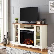 southern enterprises fossil creek 52 in electric fireplace tv stand in antique white