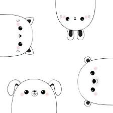 <b>Cat Kitten Bear</b> Dog Puppy <b>Rabbit</b> Hare Face Head Set. Line ...