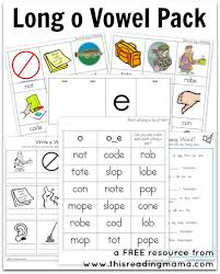 Printable phonics worksheets and flash cards: Long O Vowel Pack Free Printable