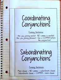 Conjunction Anchor Chart Subordinating Conjunctions