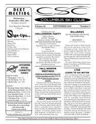 SIGN-UPS . . . - Columbus Ski Club