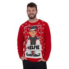 Mens #Elfie Hashtag Ugly Christmas Sweater