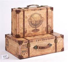 Word Map Styles Old Suitcases Decoration Shabby Chic Suitcase