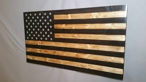 thin blue line rustic wooden american flag wall art choose any thin line color