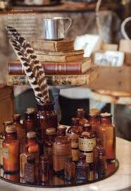 Antique bottles, books and quill