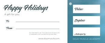 holiday gift certificate snowman dojo muscle holiday gift certificates back