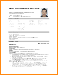 Resume Sample Pdf Malaysia Cv For Job Application Example Format