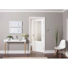internal white primed cottage 1l door with etched clear glass prifl ge