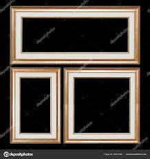 set of closeup wooden vintage frames with blank space for yours stock photo