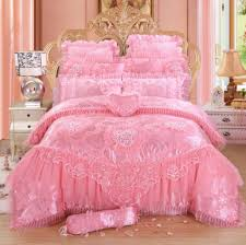 pink lace princess bedding set luxury