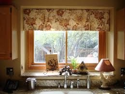 great handmade brown fabric geometric patterns over valance kitchen window ideas as well as double sink on grey marble countertop in vintage kitchen decors