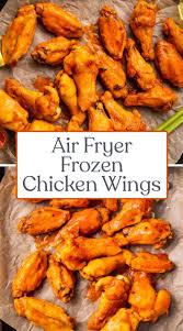 air fryer frozen en wings with an