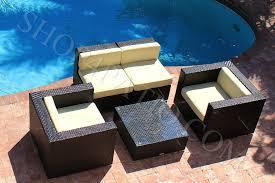 Image modern wicker patio furniture Ebay Akoya Wicker Collection Piece Modern Outdoor Winrexxcom Piece Modern Outdoor Set In Brown Wicker A0503 Shop4patiocom