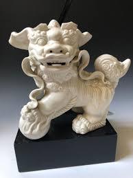 chinese antique white porcelain foo dog lamp