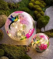 Large Crackle Solar Lights Hummingbird Crackle Glass Solar Globes Set Of 2 Crackle