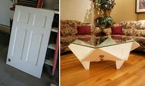 how to turn a door into a coffee table