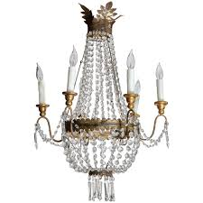italian vintage metal and wood crystal chandelier with six arms for
