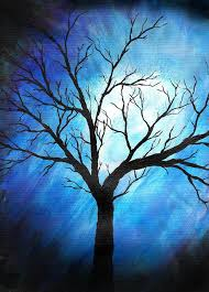 painting painting abstract tree on blue by sabrina zbasnik