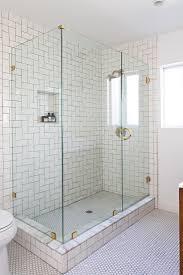 fancy design ideas using rectangular glass shower doors and white tile backsplash