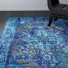 blue area rug turquoise round world menagerie