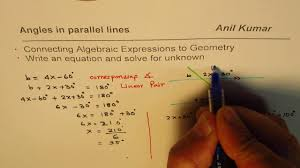 linear equation to find angles in parallel lines