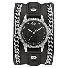 harley davidson reg women s leather cuff crystal bezel og watch
