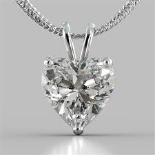 heart cut solitaire pendant with 16 diamond cut cable chain