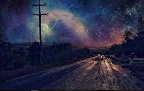 beautiful night sky road wallpaper