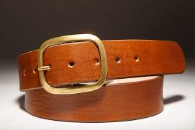 brown leather belt with brass buckle handmade in usa