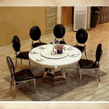8 seater big round dining table with turntable marble top