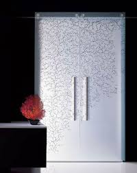 minimalist interior glass designer printed doors design