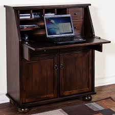 dark wood secretary desk with hutch on dark