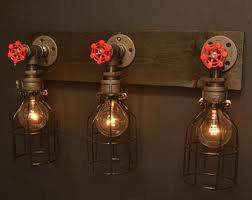 etsy lighting. Reclaimed Wood Light - Bathroom Lighting Steel Steampunk Vanity Etsy I