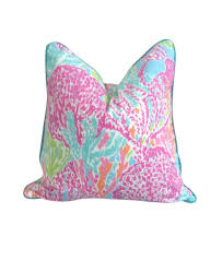 Palm Beach Designer Fabrics Lilly Pulitzer Coral Reef Pink Fabric Pillow Cover By Lilly