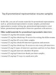 promotional resume sample top 8 promotional representative resume samples