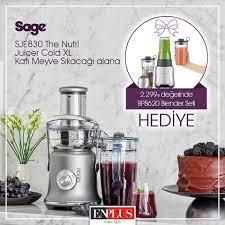 Enplus - Bahar demek, detoks demek, tazelenmek gerek! Sage SJE830 The Nutri  Juicer Cold XL katı meyve sıkacağı alana 2.299₺ değerinde Sage BPB620  blender seti HEDİYE! . 🍎🍏🍐🍊🥕🥦🥭 #enplus #since1975 #sage #sje830 # blender #katimeyvesikacagi