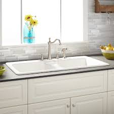 white cast iron sink. Interesting Iron White In Color The Selkirk Is Sharp Stylish And Features A Convenient  Doublebowl Design 936613Signature Hardware Cast Iron Kitchen Sinks 799 Inside Sink E