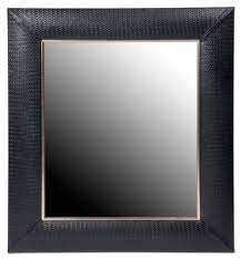 framed modern mirror.  Framed Zoom Image Nero Weave Leather Framed Mirror Contemporary Transitional Art  Deco MidCentury Modern Glass Intended Modern R