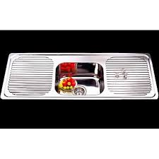 euro single bowl double drainer kitchen sink 1180mm stainless steel
