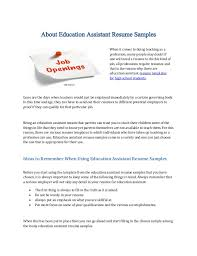 About Education Assistant Resume Samples