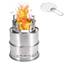 Outdoor Wood Stove Designs Lixada Camping Stove Outdoor Cooking Wood Burning Stove Foldable Backpacking Stove With Alcohol Tray And Grill Net Hiking Backpacking Picnic Bbq
