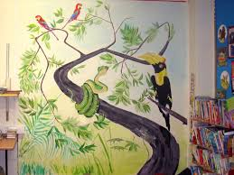 scotland uk a mural painting in library s in tropical forest hand painted acrylic artwork