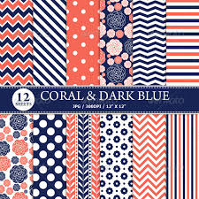 Coral & Dark Blue Digital Paper Pack - Textures