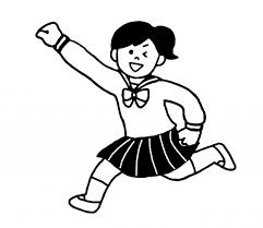 ガッツポーズするセーラー服の女子学生 無料イラスト素材素材ラボ