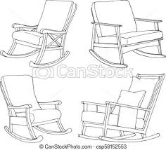 rocking chair sketch. Unique Sketch Set Of Rocking Chairs Isolated On White Background Sketch A Comfortable  Chair Vector Illustration Inside Rocking Chair Sketch L