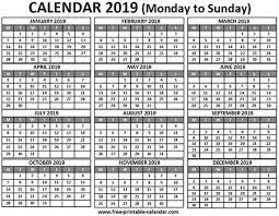 2019 Calendar Printable Free Printable Calendar Com