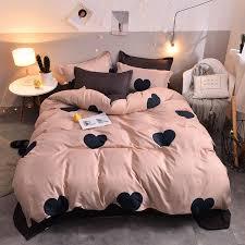 heart tropical print 4pcs bed