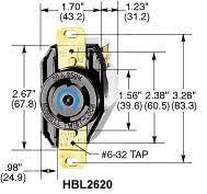 product datasheet hbl2620 2p3w 30a 250v l6 30r black nylon face