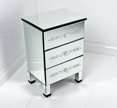 Small Bedroom Table Furniture Tall And Narrow Square Mirrored Bedside Table With 3